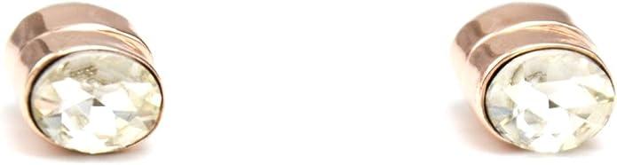 Boucles d/'Oreilles Aimant avec Pierre Ovale Transparente et Métal Or... BO759E