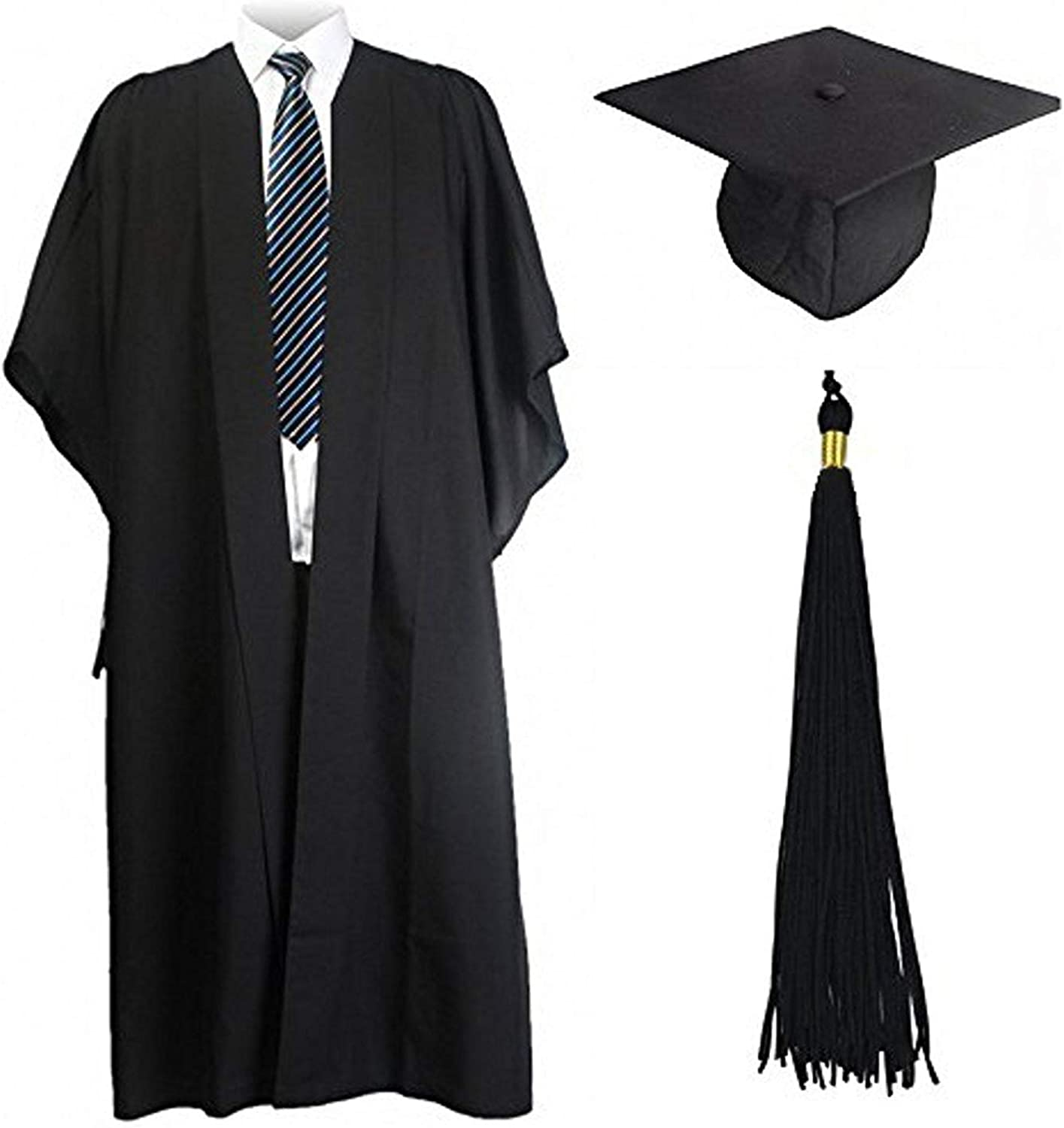 GraduationMall Fluted Academic Graduation Gown with America Cap for Bachelor