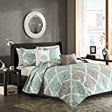 Extra Wide King Size Quilts Madison Park Claire King/Cal King Size Quilt Bedding Set - Aqua, Grey, Leaf Geometric – 6 Piece Bedding Quilt Coverlets – Ultra Soft Microfiber Bed Quilts Quilted Coverlet