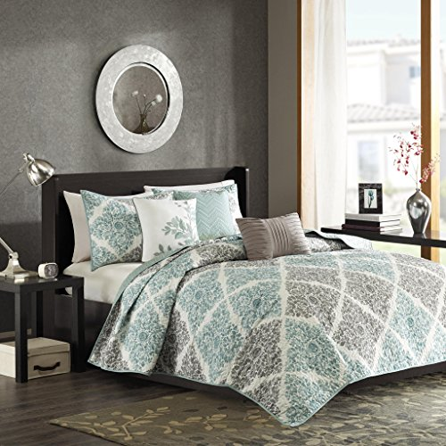 Madison Park Claire Leaf Geometric - 6 Piece Ultra Soft Microfiber Bed Quilted Coverlet, King/Cal King, Aqua (Aqua Quilts)