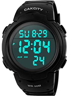 CakCity Men s Digital Sports Watch LED Screen Large Face Military Watches  and Waterproof Casual Luminous Stopwatch 5b676b9fb9