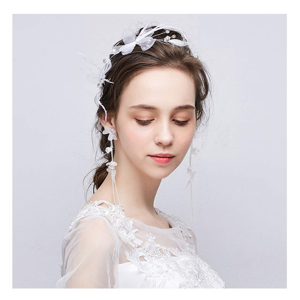 Wreath Flower Wedding Headdress White Faux Pearl Hairpin Bridal Tiara Earring Set (Size : 50cm) by Wreath