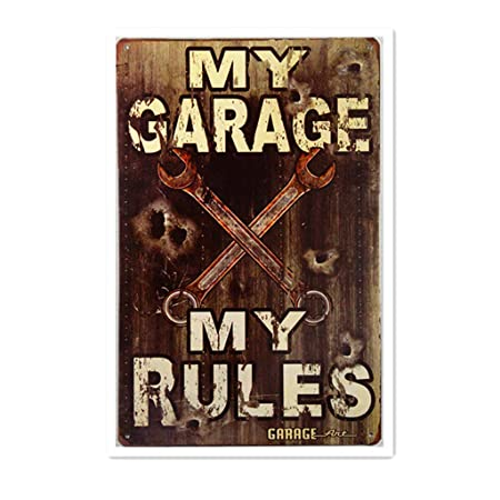 LORENZO My Garage My Rules Vintage Metal Cartel de Chapa ...