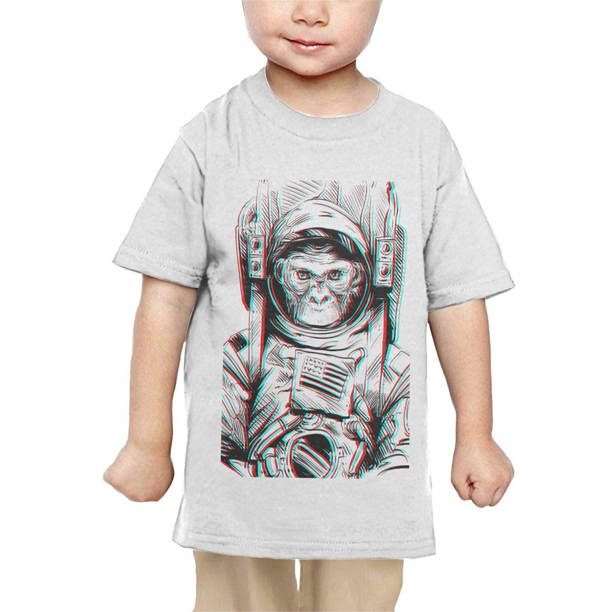 Chunmmmmm Monkey Astronaut Baby Unisex Short Sleeve Round Neck Cotton T-Shirts