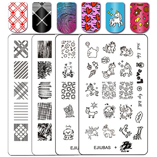 Ejiubas Stamping Plates Nail Art Plates Nail Stamping Kit Manicure Tools Fall Textures + Deeva Fairy Tales Theme Double-sided 2 Counts
