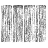 Foil Curtains, Zealor 4 Pack Metallic Fringe Curtains Shimmer Curtain Backdrop for Parties Birthday Wedding Decorations 3.28ft* 8.2ft (Silver)