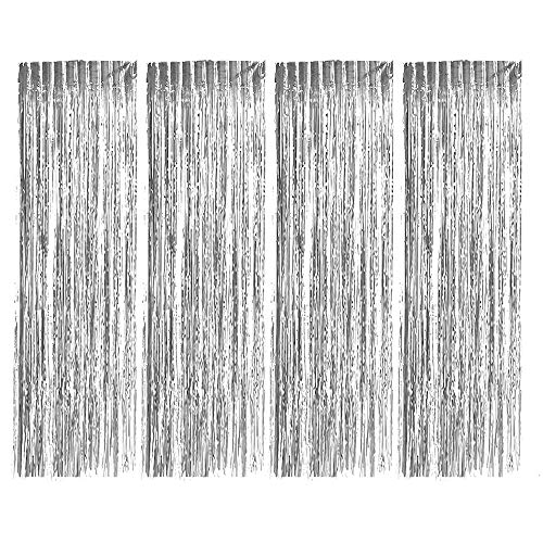 Foil Fringe Curtains, Zealor 4 Pack Metallic Fringe Curtains Shimmer Curtain Backdrop for Parties Birthday Wedding Decorations 3.28ft* 8.2ft ()