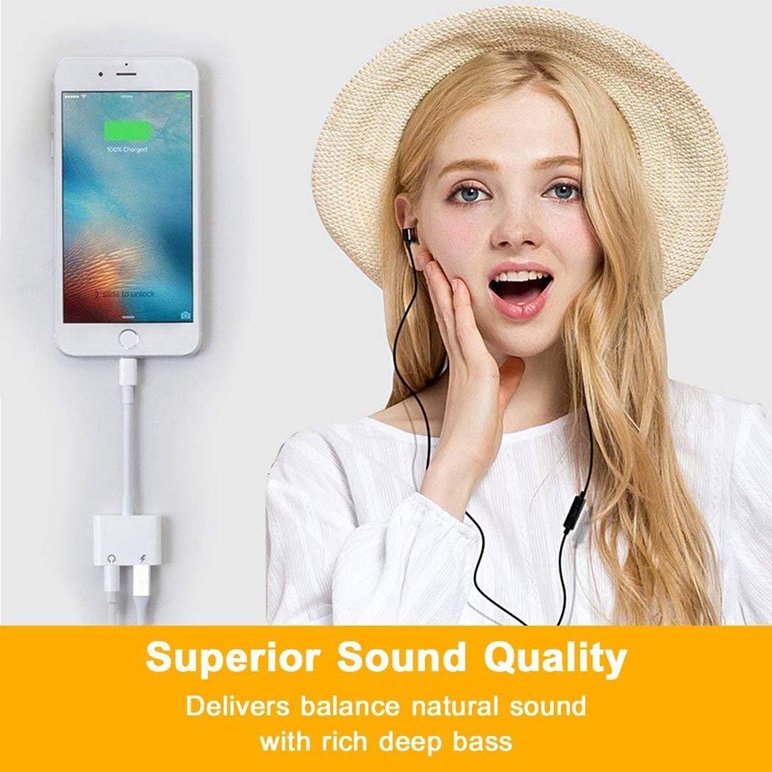 7Plus X//XS Max f/ür All iOS 8Plus 8 Kopfh/öreradapter f/ür iPhone 7 Jack Aux Audio auf 3,5 mm Kabel Kopfh/öreradapter Headset-Splitter f/ür Musik und Aufladung Kompatibel mit iPhone Adapter 7