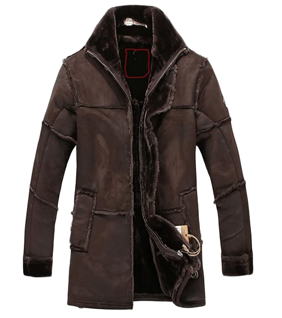 Fllay Mens Winter Warm Thicken Faux Suede Fur Leather Flight Bomber Jacket
