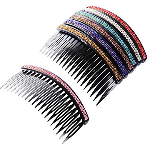 (Pangda 7 Pieces Hair Comb 20 Teeth Rhinestone Comb Pin Clip Bridal Hair Combs Accessory for Women Girls, Assorted Colors)