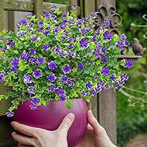 YISNUO Artificial Flowers, Fake Outdoor UV Resistant Plants Faux Plastic Greenery Shrubs Indoor Outside Hanging Planter Home Kitchen Office Wedding, Garden Decor(Purple) 4