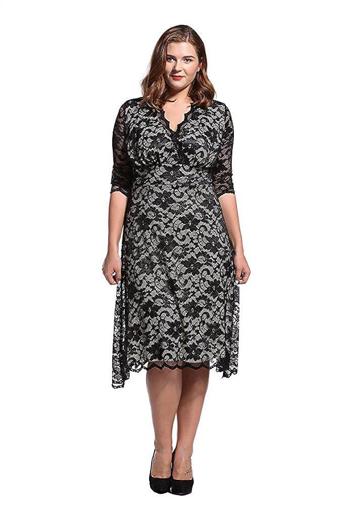 Dilanni Women/'s Lace Half Sleeves Wedding Party Short Dress Plus Size