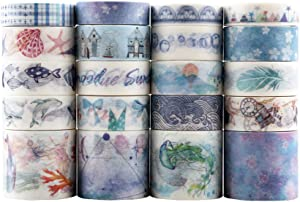 Dizdkizd 20 Rolls Washi Tape Set, Ocean Collection Tape with 3 Sizes 10/15/30mm, Sea-Blue Style Decorative Masking Tapes for DIY Crafts Arts Scrapbooking Bullet Journal Planners
