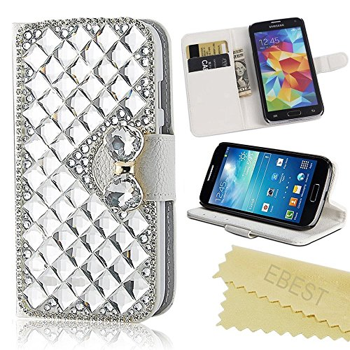 LG G Stylo Case, EBEST Handmade Bling Crystal Rhinestone Folio Wallet Stand PU Leather Case with cash/card holder For LG G4 Stylus, LG G Stylo, H631, MS631, LS770, silver big Crystal