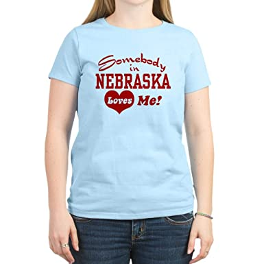 18756e9ab CafePress Somebody in Nebraska Loves Me Women's Pink T Shirt Womens Cotton T -Shirt,