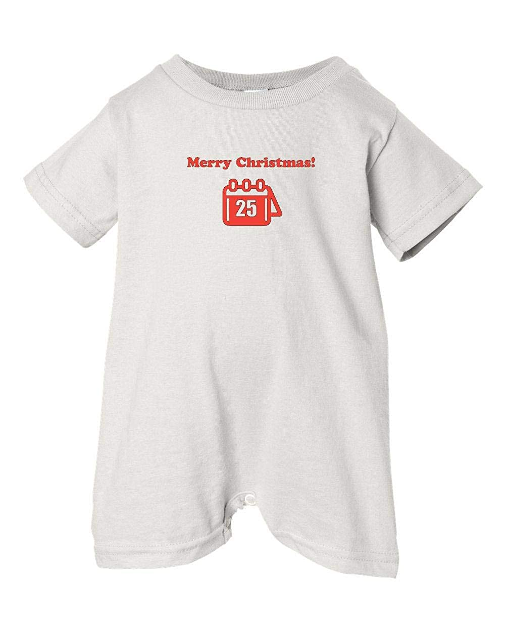 T-Shirt Romper Calendar White, 18 Months Festive Threads Unisex Baby Merry Christmas!