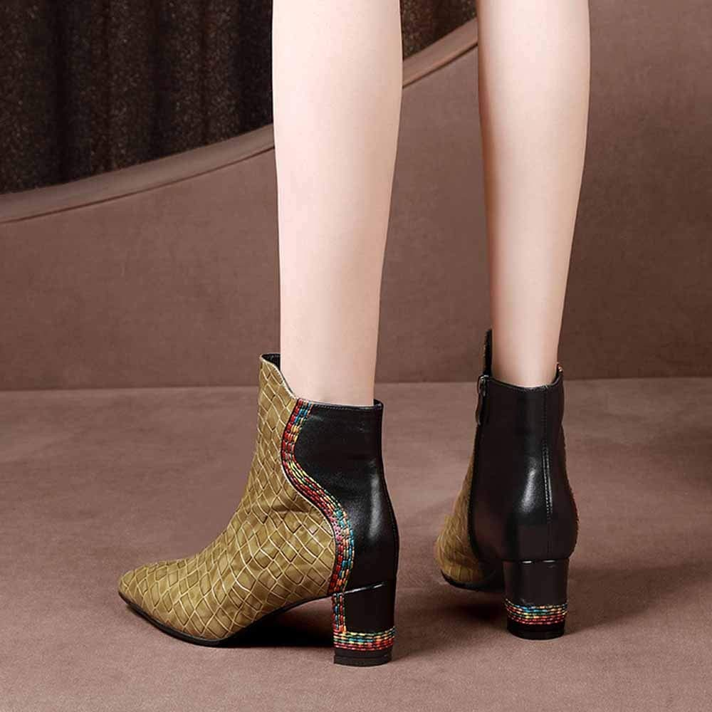 GUOHONG-CX Schuhe Damen Martin Stiefel Herbst Winter Leder Spitzen Spitzen Spitzen High Heel Kurze Warm Atmungsaktiv Rutschfest,Gold-34 2799bf