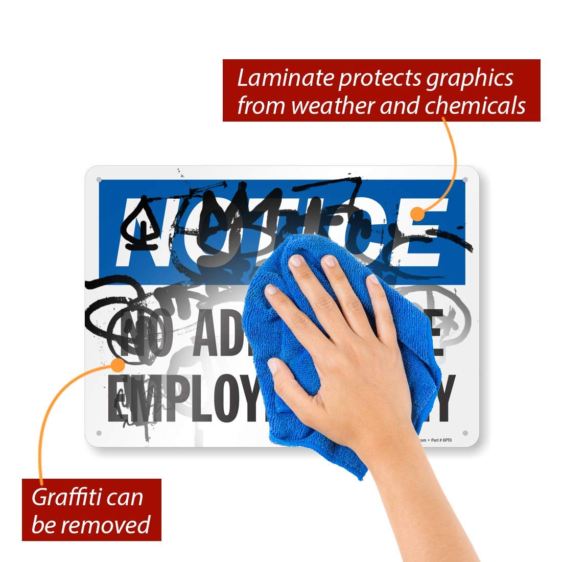No Admittance 10 x 14 Aluminum MySafetySign S-0051-AL-14 SmartSign/Notice Employees Only Sign 10 x 14 Aluminum Employees Only Sign