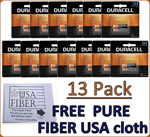 Duracell Dl123 Ultra Lithium Photo, 13 Batteries - Exp 2027+ FREE Pure Fiber USA Cleaning ()