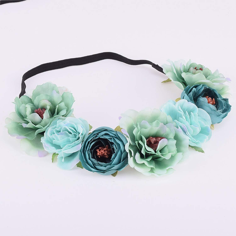 Peony Rose Bud Floral Flower Crown Boho Headwrap Bridesmaid Elastic Kids Girl Wedding Photography Hairband,1