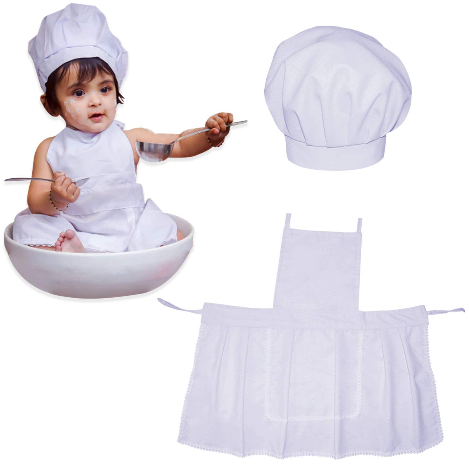 Cute Baby White Cook Cheff Hat Apron Child Costume Photos Props for 0~12 Months
