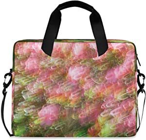 Blur Wave Azalea Flowers Laptop Case 15.6 Inch Carrying Protectiv Case with Strap