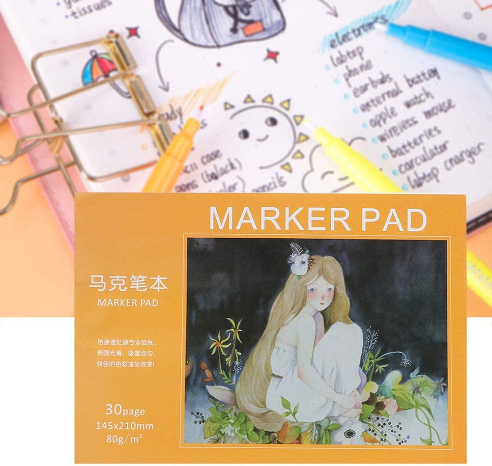 Art Drawing Marker Paper Pad Notebook,Extra Thick Waterproof Watercolor Book Sketchbook Painting Paper,for Drawing Writing,Painting,Sketching or Doodling