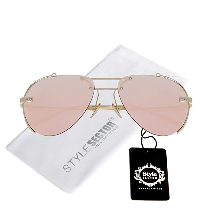 b7a9780ac672 Amazon.com  WIRE-FRAMED MIRROR AVIATOR SUNGLASSES IN PINK-TONE WITH ...