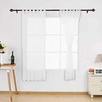 Deconovo Vorhang Voile Transparent Vorhänge Wohnzimmer Schlaufenschal  Transparent 175x140 cm Weiß 2er Set