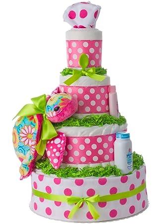 Amazon.com: Lil tarta de pañales de pasteles Aloha tortuga ...