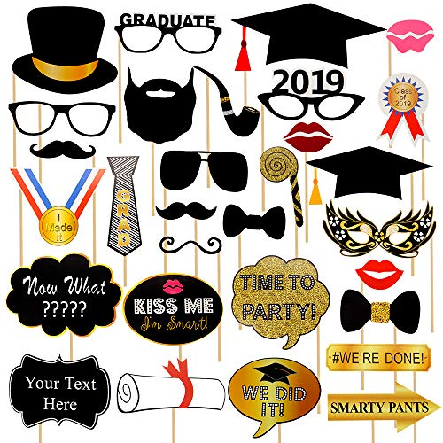 (Yamissi 2019 Large Graduation Photo Booth Props -Real Gold Glitter | 30 Count Great Graduation Decorations for Graduation Party Supplies 2019 High School Senior Prom Grad Party | Heavy Duty)