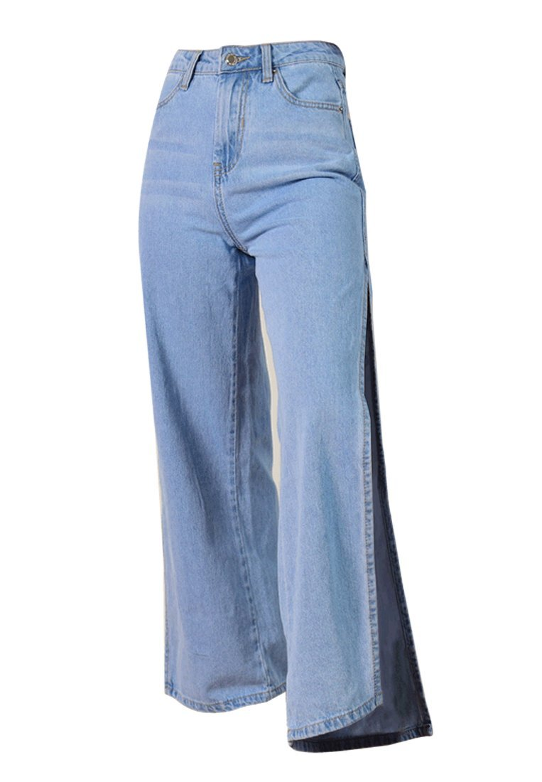 Wincolor Women's High Waisted Cropped Slit Side Bagge Wide Leg Jeans Pants