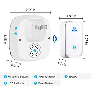 AUTENS Wireless Doorbell, Plug in Door Bells & Chimes for Home Classroom Business, Expandable Waterproof Door Chime Kits Battery Operated, 58 Melodies, 5 Levels Volume, 850 Ft Range (Color: White 2 Receiver 1 Transmitter)