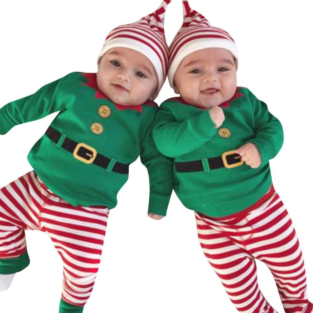 Darringls-3Pcs Infantile Bébé Garçon Fille Rayure de Christmas Romper+Pants+Hat Outfits Set Tenues De Noël Ensemble Vêtements