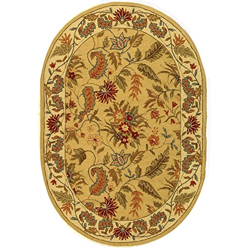 Chelsea Oval Rug (Safavieh Chelsea Collection HK141A Hand-Hooked Ivory Premium Wool Oval Area Rug (7'6