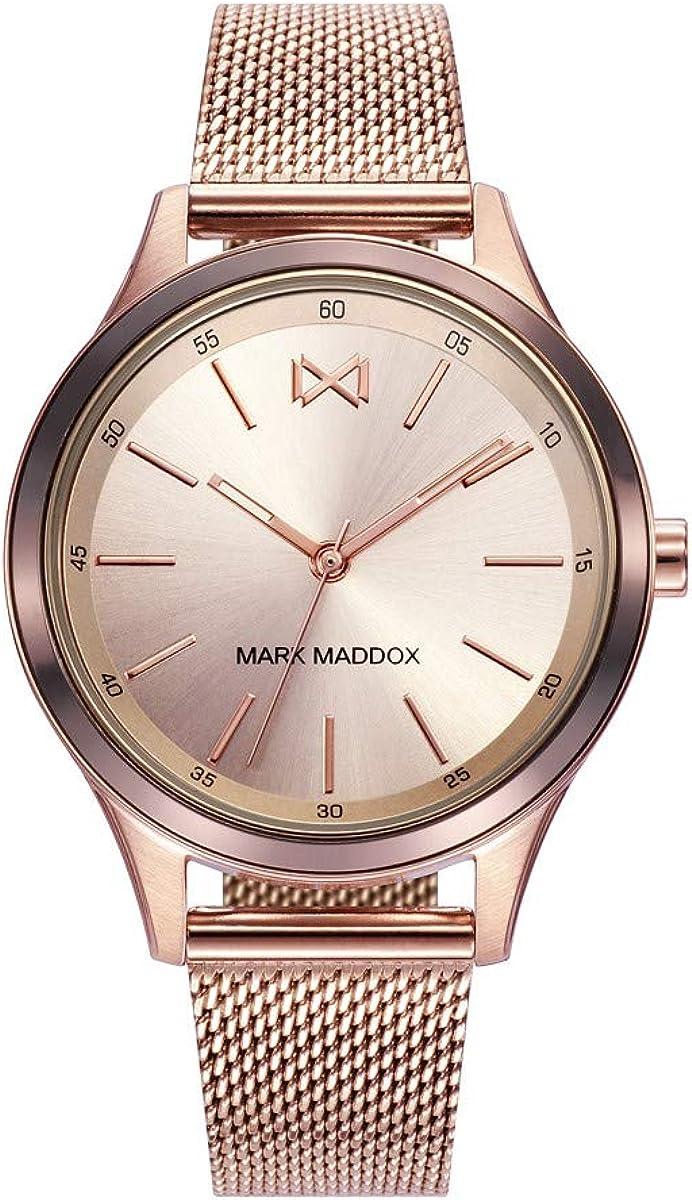 Mark Maddox MM7110-97 Reloj de Mujer Cuarzo Acero IP Rosé Malla Milanesa Tamaño 36 mm