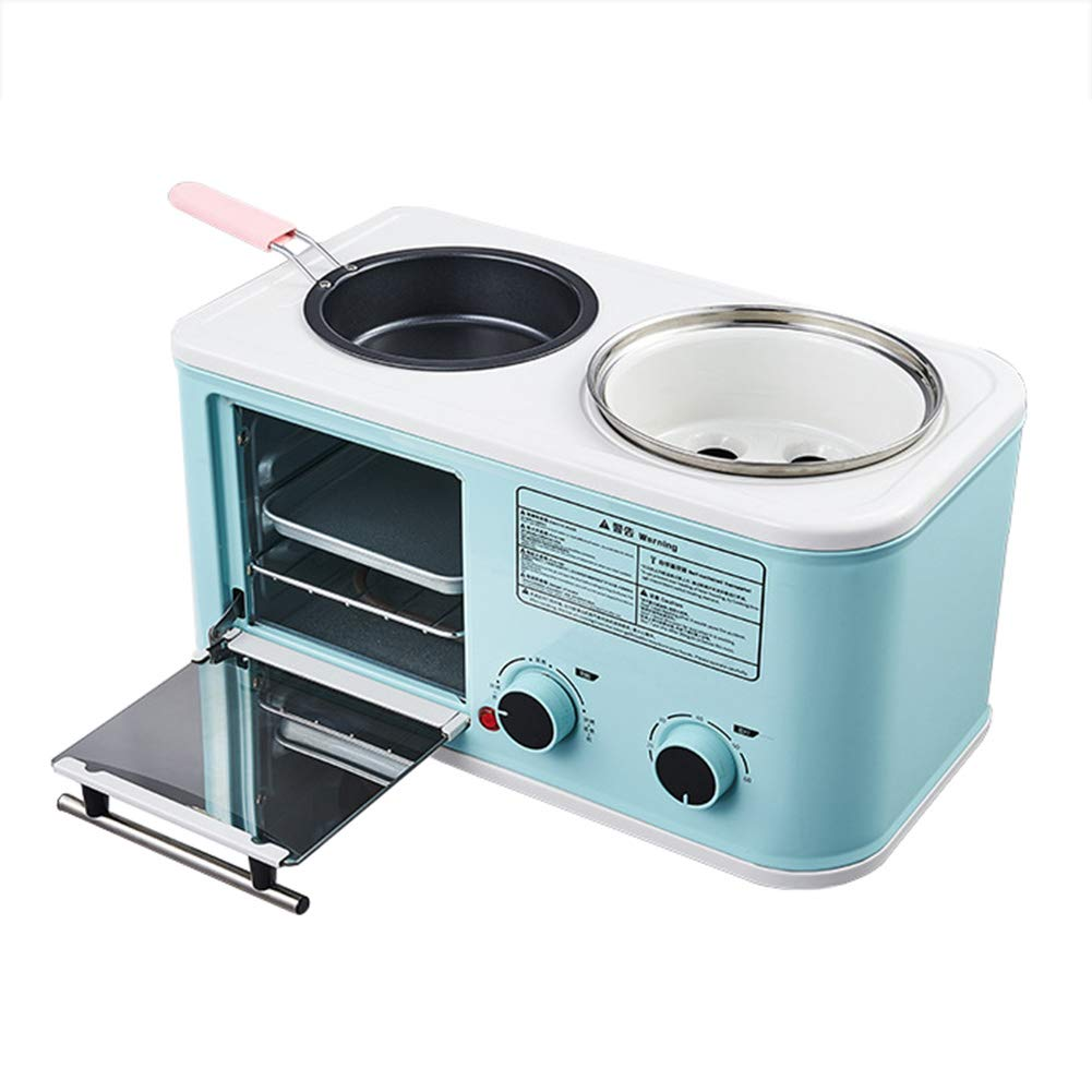 JINJN Blue Multifunctional Breakfast Machine Retro 3-in-1 Toaster Oven Combo Mini Cooking Pot Non-Stick Frying Pan