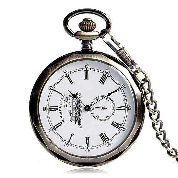 Reloj de Bolsillo clásico, Esfera Abierta de Minuto, Reloj de Bolsillo, Reloj de Bolsillo mecánico de Viento de Mano, Regalo para Hombres: Amazon.es: ...