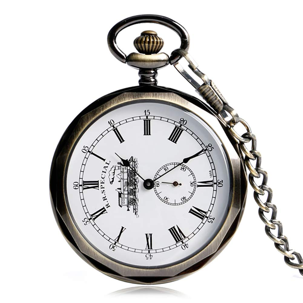 Classic Pocket Watch, Open Face Minute Locomotive Dial Pocket Watch, Hand Wind Mechanical Pocket Watches Gift for Men