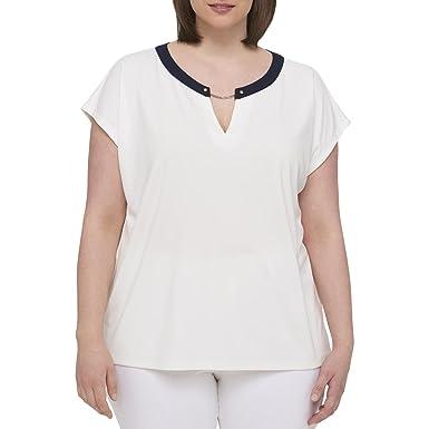 24b41dddc Tommy Hilfiger Women's Plus Size Hardware Top (2X, Ivory): Amazon ...