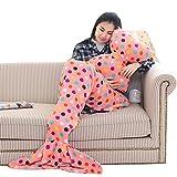 Yaheeda Mermaid Tail Blanket Soft Flannel Cozy Warm Sofa Bedroom All Seasons Leisure Sleeping Bag Blankets Children/Adult Soft Mermaid Tail Blanket and Bowknot Cushion Pillow Set