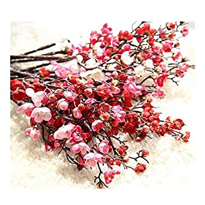 Artificial Spring Blossom Plum Bouquet Branch Silk Tall Fake Flower Arrangements for Home Wedding Decoration Arrangements for Home Wedding Decoration by Corsion 64