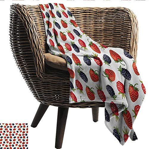 Anshesix Printing Blanket Fruits Delicious Ripe Berry Print Strawberries Raspberries Blackberries Summer Fruits Image Print Summer Quilt Comforter W54 xL84 Sofa,Picnic,Camping,Beach,Everyday use