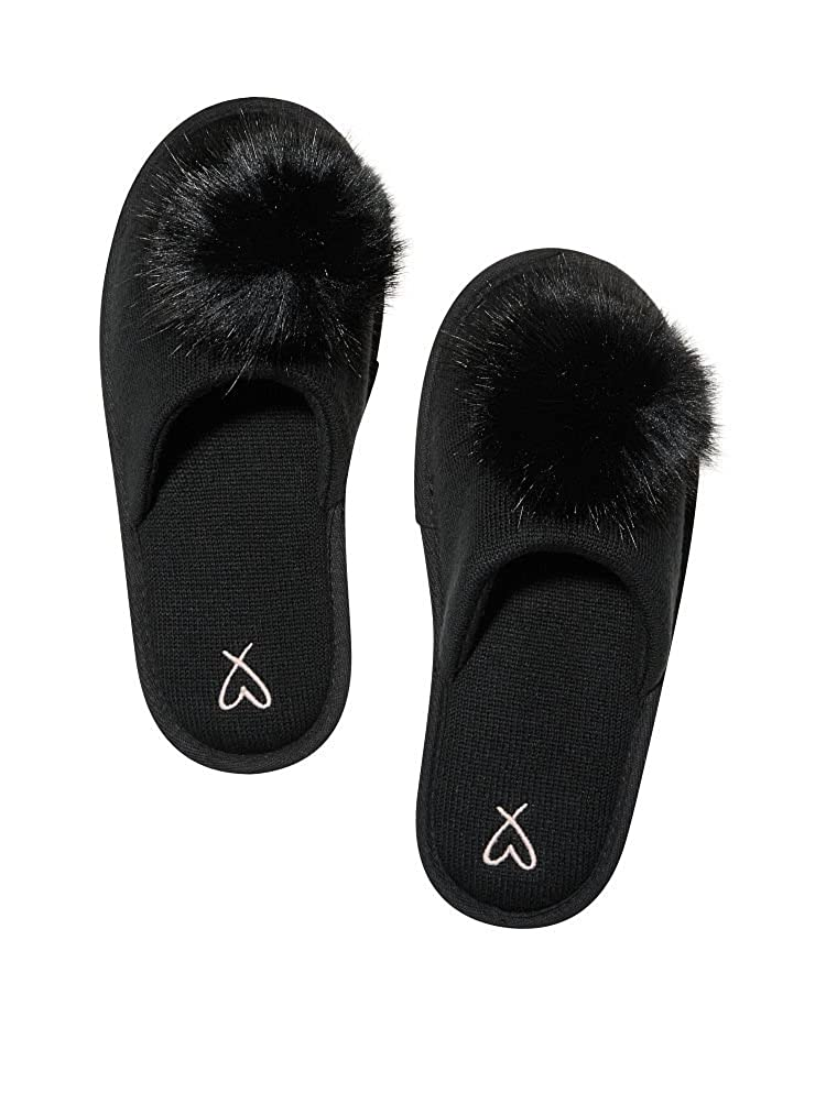 b851ff41ee091 Victoria's Secret Pom Pom Pretty Slippers Black- Large 9/10