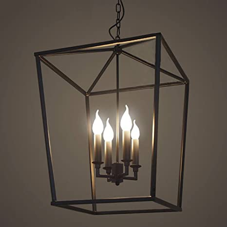 Jinguo lighting 4 lights foyer pendant with lantern style cage fram jinguo lighting 4 lights foyer pendant with lantern style cage fram chandelier hanging lamp antique black mozeypictures Gallery