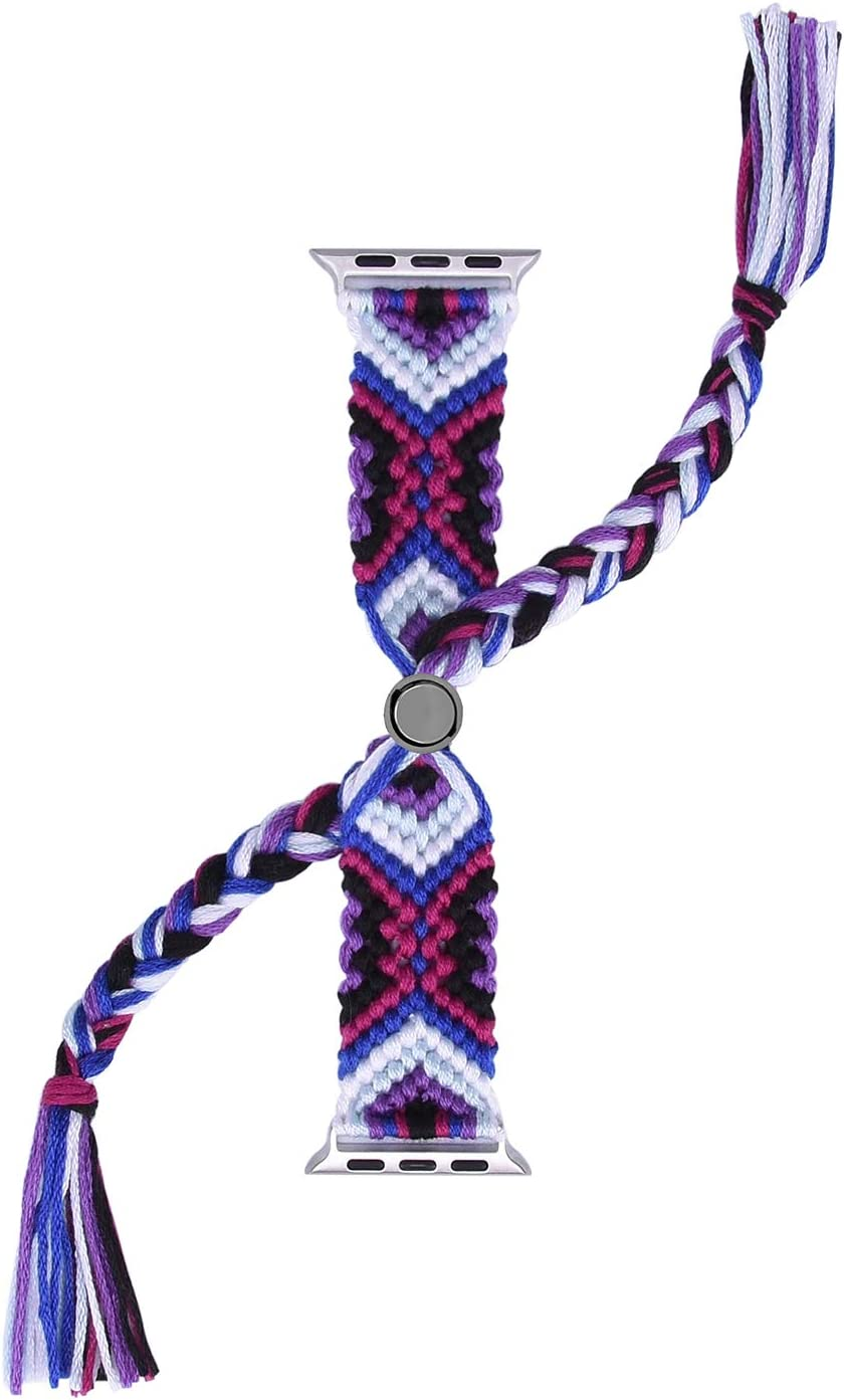 Euler 2th Generation Cotton Woven Watch Band Strap Compatible with Apple Watch Band for Apple Watch Series 6 SE 5 4 3(Grape Purple, 42/44mm)