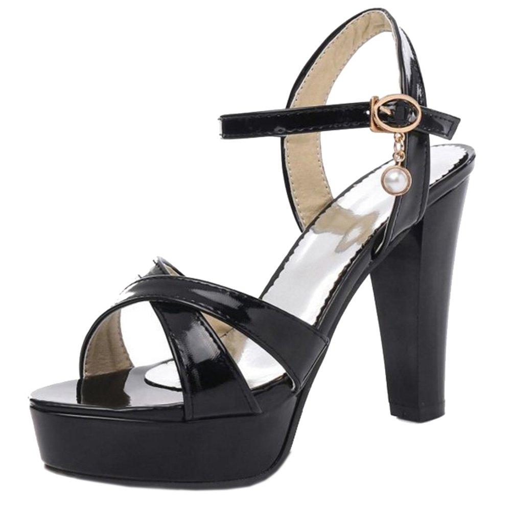 7b66a1f2e7226 BLACK Cocey Women Dressy Sandals with High Heel Heel Heel and Open ...