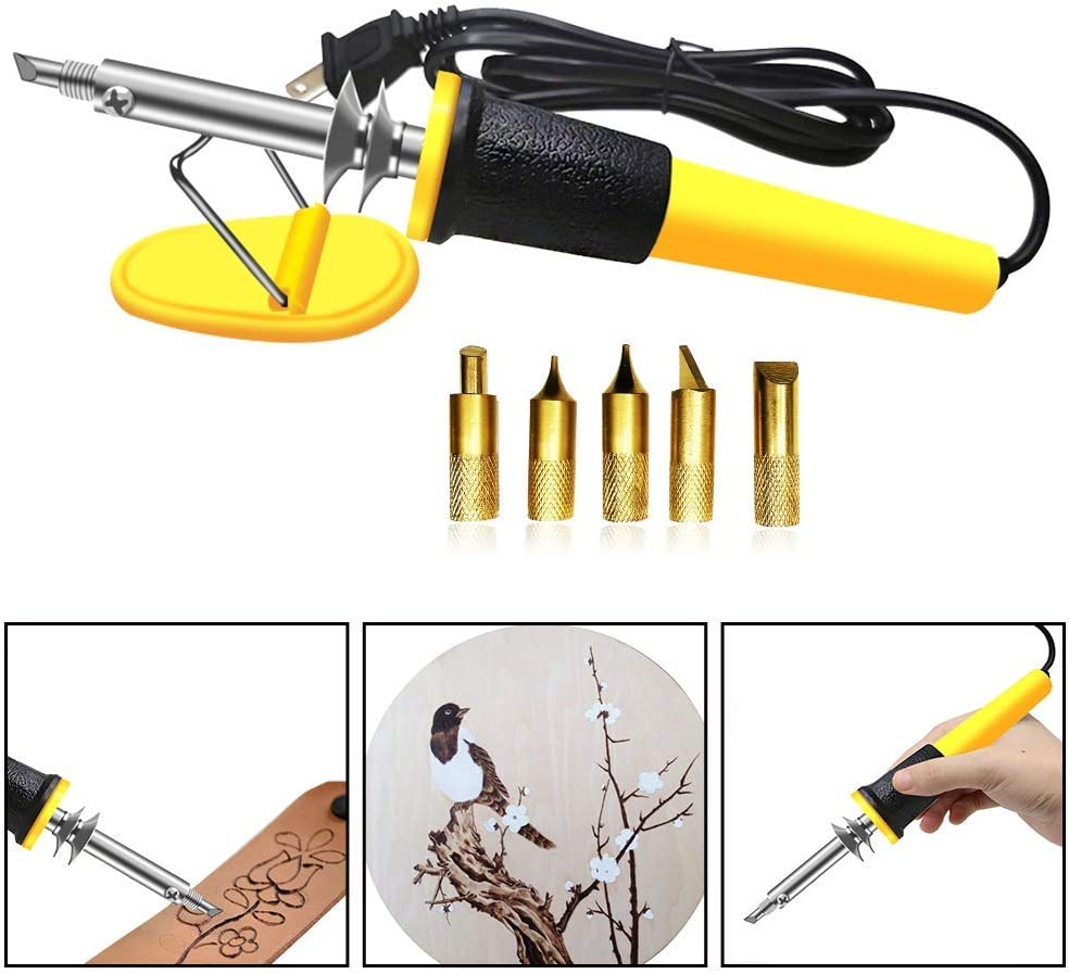 Leather Kit for Beginner with Leather Burning Tool Stamp Punch Set and Adjustable Swivel Knife Leather Carving Set Leather Working Kit Leather Carving Working Saddle Making Leather Stamp Tools