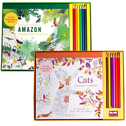 Hamlyn (Set of 2 Adult Coloring Books with Colored Pencils & Sharpener Stress Relieving Cats & Amazon