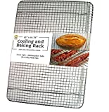 Ultra Cuisine 100% Stainless Steel Cooling and Baking Rack fits Jelly Roll Sheet Pan - Cool Cookies, Cake, Bread, Pie - Oven Safe Wire Grid for Roasting, Cooking, Grilling, BBQ, Smoking (10'' x 14.75'')